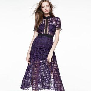 Self-Portrait Guipure-Lace Midi Dress Purple